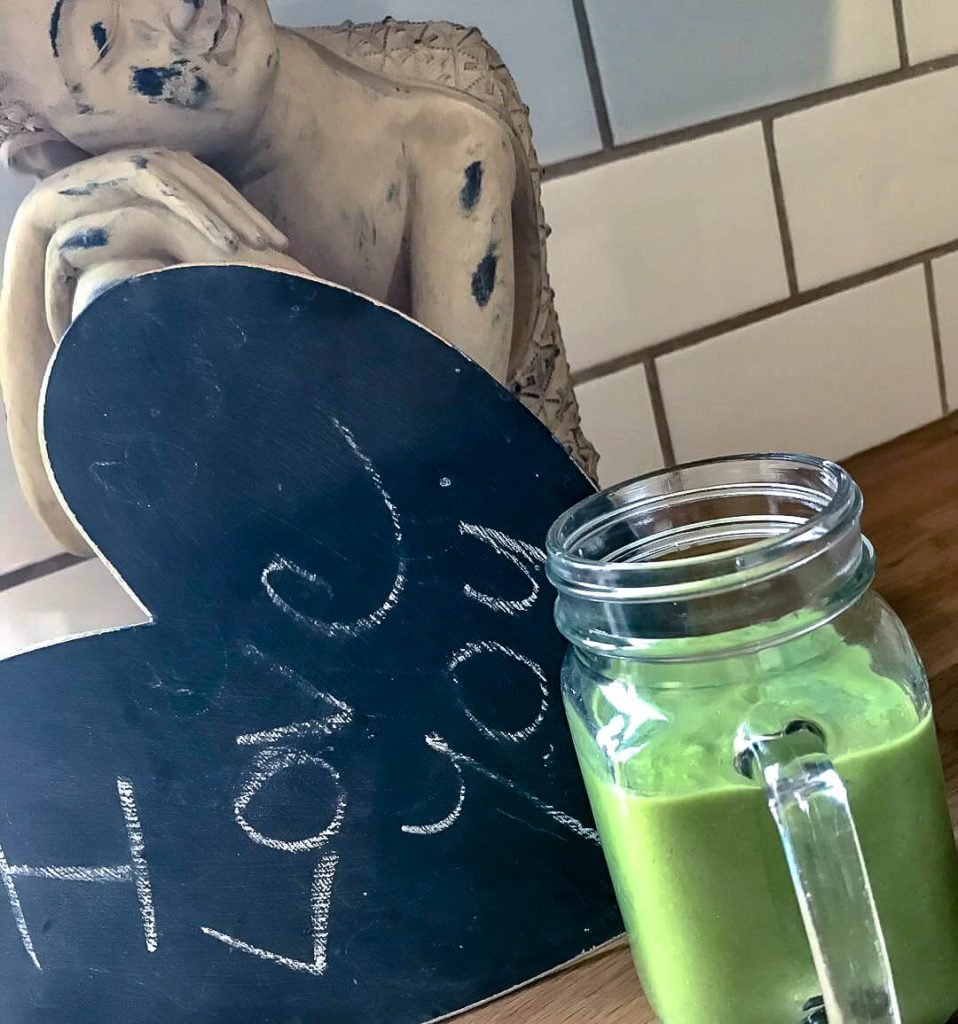 Green Celery Smoothie in Glass