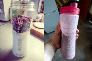 Blueberry & gojiberry healthy breakfast smoothie before & after blending