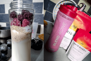 Raspberry healthy breakfast smoothie before and after