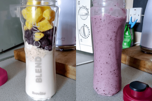 Mango & Blueberry Smoothie: Before & After Blending