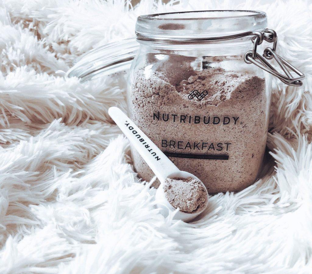 chocolate Nutribuddy Breakfast shake in a jar