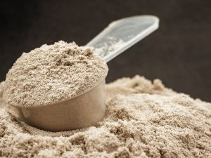 scoop of nutritious protein powder