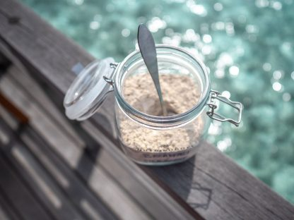 Nutribuddy Stainless Steel Scoop in Glass Jar