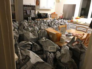 My kitchen filled with Nutribuddy mail sacks